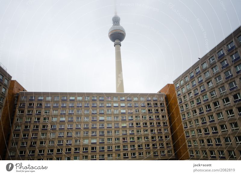 Tower without perspective Sky Winter Bad weather Fog Alexanderplatz Capital city Prefab construction Office building Berlin TV Tower GDR Authentic Hideous Tall