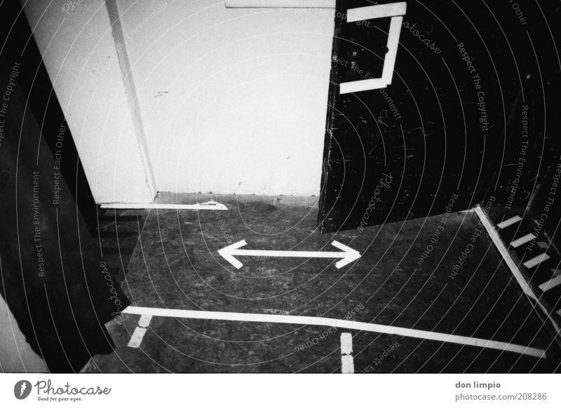 backstage Interior design Subculture Door Hallway Sign Signs and labeling Arrow Stripe Black White Analog Black & white photo Interior shot Deserted