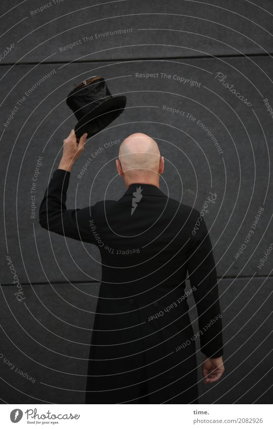 AST 10   still preparing for dress rehearsal Masculine Man Adults Human being Art Artist Wall (barrier) Wall (building) Frock coat Top hat Bald or shaved head