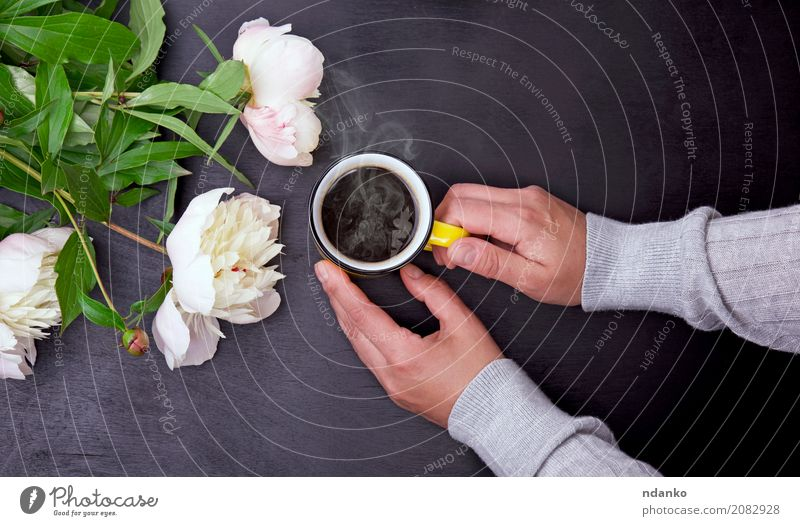 Yellow mug in female hands Hand Flower Relaxation Black Wood Above Pink Fresh Retro To enjoy Table Blossoming Beverage Coffee Bouquet