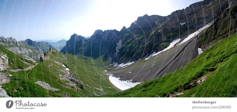 Nature Sky Green Blue Summer Snow Meadow Grass Mountain Freedom Gray Landscape Brown Hiking Rock Earth