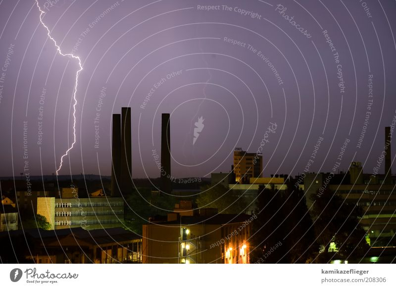 Nature Sky City Summer Air Weather Environment Night sky Lightning Skyline Thunder and lightning Storm Elements Chimney Industrial plant
