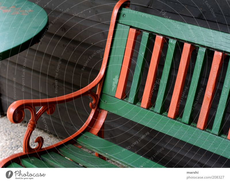 Have a seat! Wood Stripe Green Orange Bench Table Furniture Seating Partially visible Relaxation Colour photo Exterior shot Wooden table Wooden bench