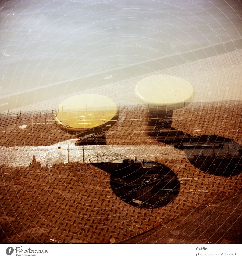 City Summer Far-off places Brown Horizon Tourism Hamburg River Infinity Harbour Steel Vantage point Navigation Mobility Double exposure Jetty