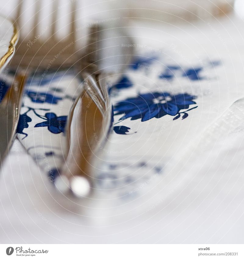 cutlery Plate Cutlery Knives Fork Authentic Napkin Colour photo Interior shot Close-up Detail Shallow depth of field Silver Blue White Edge of a plate Gold Blur