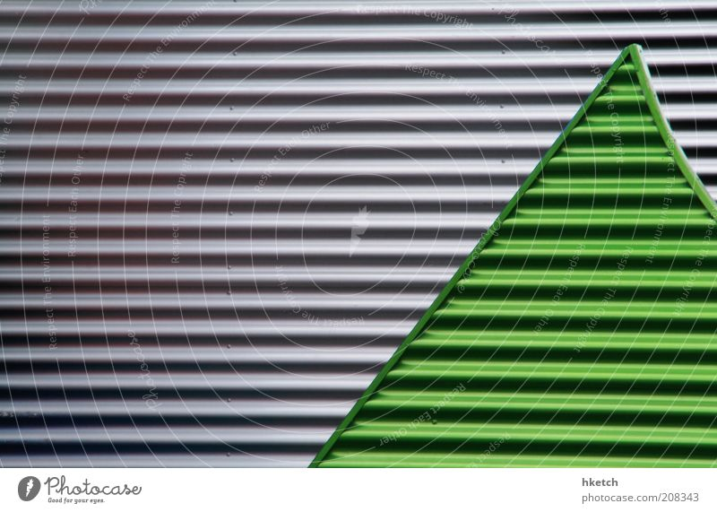 temperature curve Stripe Anticipation Corrugated sheet iron Green Silver gray Line Colour photo Exterior shot Abstract Pattern Structures and shapes