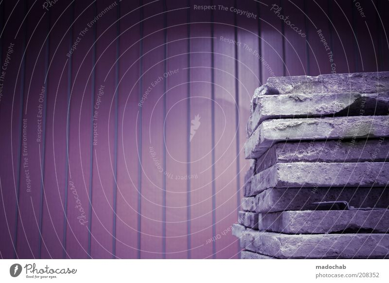 Monday House building Wall (barrier) Wall (building) Facade Stone Planning Destruction Construction site Redevelop Old New Violet Colour photo Subdued colour