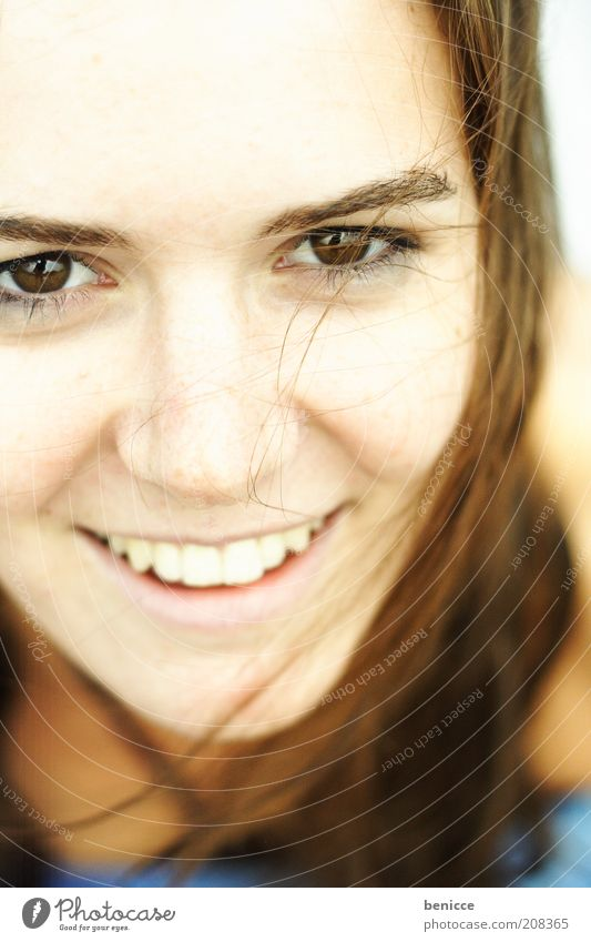smiley Woman Human being Youth (Young adults) Close-up Detail Bird's-eye view Laughter Smiling Attractive Beautiful Teeth Eyes Face Hair and hairstyles Summer