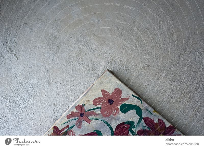 painting Old Blue Red Flower Colour Wall (building) Landscape Garden Gray Art Pink Decoration Illustration Mysterious Painting and drawing (object) Historic