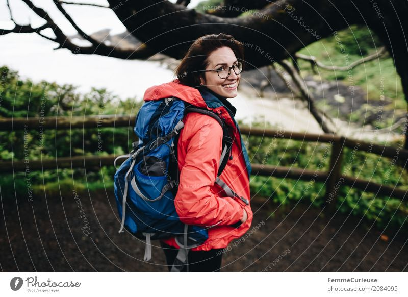 Human being Woman Nature Youth (Young adults) Blue Young woman Tree Ocean Red 18 - 30 years Travel photography Adults Lifestyle Coast Feminine Happy