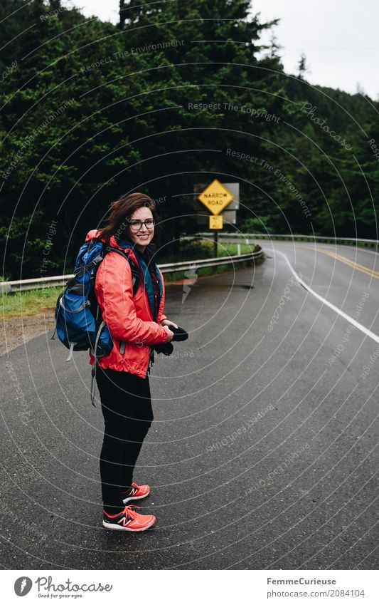 Human being Woman Youth (Young adults) Young woman Calm Forest 18 - 30 years Adults Feminine Happy Freedom Hiking Smiling USA Adventure Eyeglasses