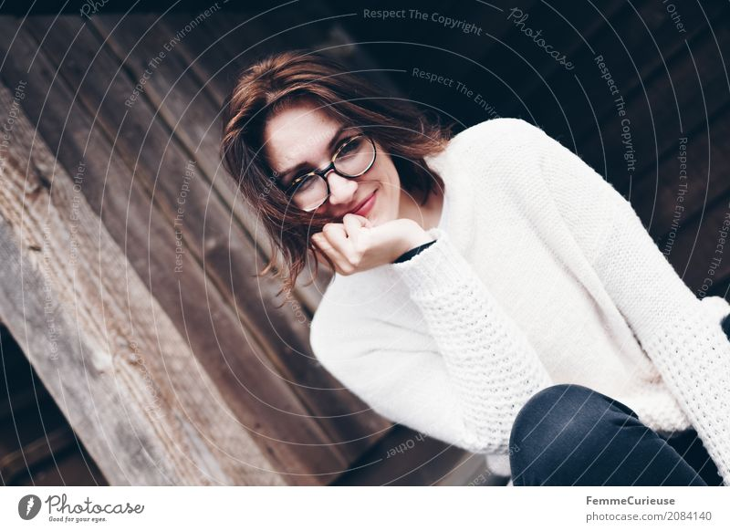 Human being Woman Youth (Young adults) Young woman Beautiful Hand 18 - 30 years Adults Natural Feminine Wood Laughter Happy Contentment Idyll Sit