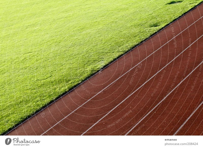 diagonal running Leisure and hobbies Sports Track and Field Sporting Complex Football pitch Stadium Racecourse Grass Esthetic Tartan Hundred-metre sprint Line