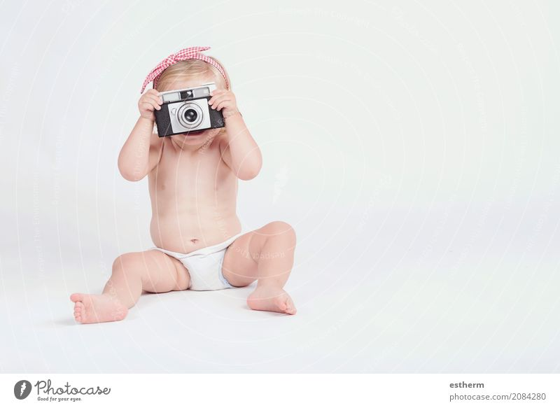 Little baby with photo camera Human being Vacation & Travel Summer Joy Girl Lifestyle Funny Laughter Freedom Leisure and hobbies Trip Infancy Sit Smiling