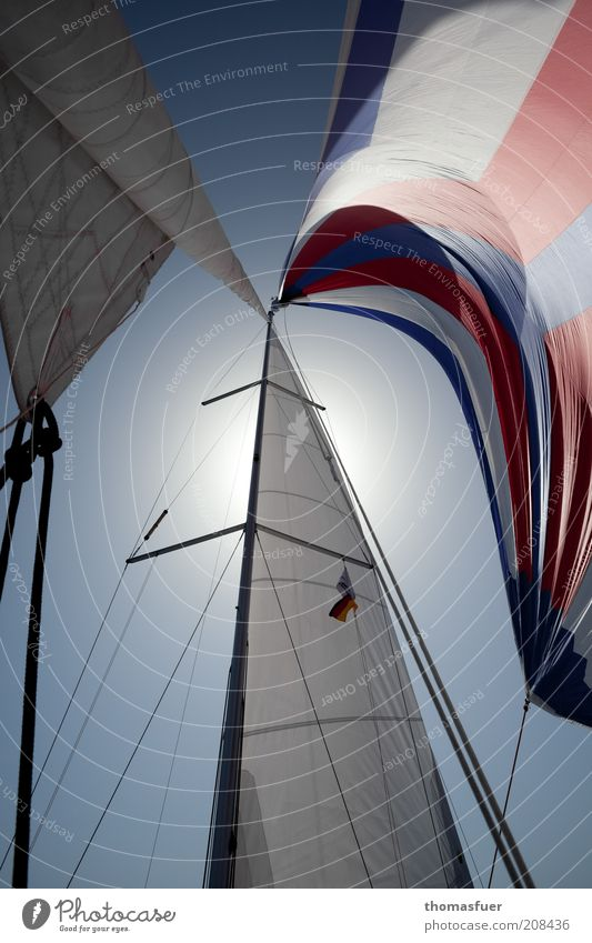 Blue Summer Sun Red Far-off places Freedom Esthetic Beautiful weather Adventure Navigation Summer vacation Sailing Blue sky Sailboat Yacht