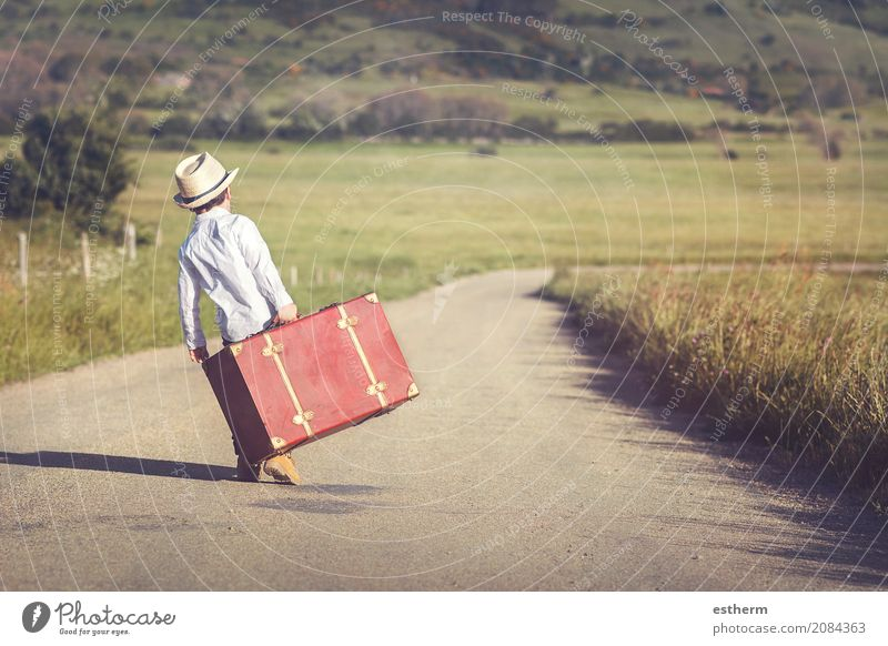 child on the road with a suitcase Lifestyle Vacation & Travel Tourism Trip Adventure Freedom Human being Masculine Child Toddler Boy (child) Infancy 1