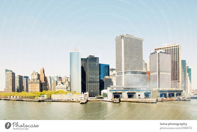 Summer in the city Water Cloudless sky Sunlight Beautiful weather New York City Manhattan Americas USA Skyline Overpopulated High-rise Bank building Harbour