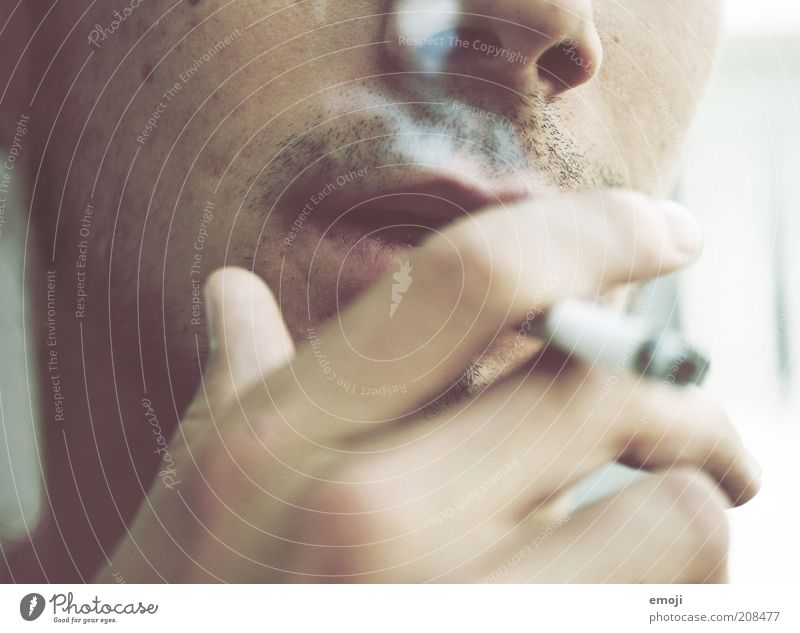 lazy Mouth Lips Hand Fingers 1 Human being Cool (slang) Close-up Cigarette Cigarette smoke Smoking Lifestyle Facial hair Stubble Beard hair Vice Colour photo