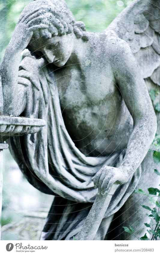 bereavement Statue Grief Sadness Hopelessness Death Symbols and metaphors Stone Angel Frustration Religion and faith Catholicism Vienna Old Calm Grave Tombstone