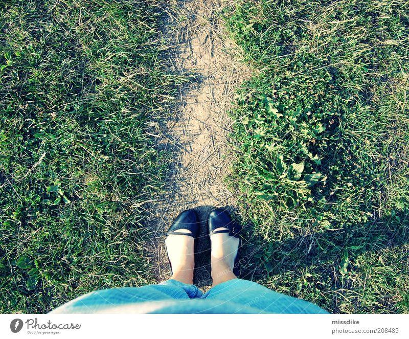 Walk The Line Feminine Girl Life Feet 1 Human being Earth Summer Beautiful weather Grass Meadow Pedestrian Jeans Footwear Lanes & trails Vacation & Travel Green