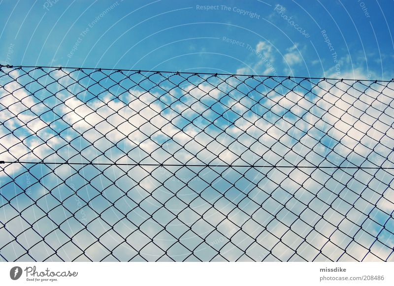 behind bars Air Sky Clouds Beautiful weather Deserted Fence Blue Black White Wanderlust Distress Frustration Esthetic Loneliness Fiasco Revolt Protection