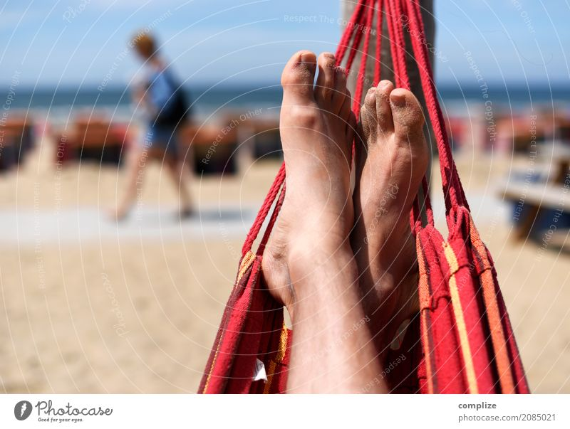 Hammock on the beach Well-being Relaxation Calm Leisure and hobbies Vacation & Travel Freedom Summer Summer vacation Sun Sunbathing Beach Ocean Man Adults Coast