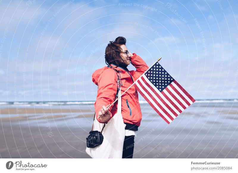 Human being Woman Sky Vacation & Travel Youth (Young adults) Young woman Red Beach 18 - 30 years Travel photography Adults Feminine Freedom Sand Trip USA