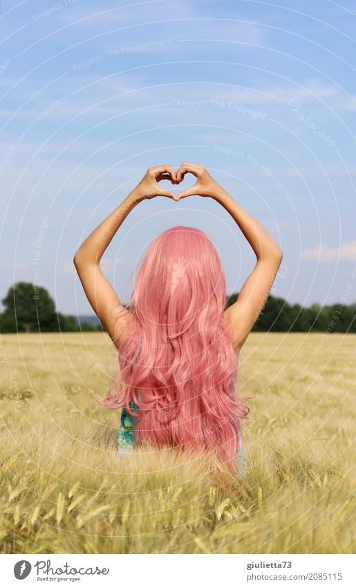 Human being Child Youth (Young adults) Young woman Summer Beautiful Girl Love Happy Pink Dream Free Field 13 - 18 years Infancy Idyll