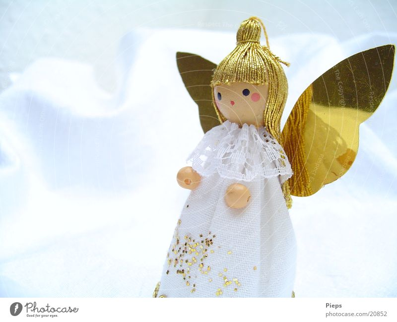 Christmas & Advent White Winter Glittering Design Gold Joy Angel Kitsch Decoration Doll Anticipation Hang up December Public Holiday