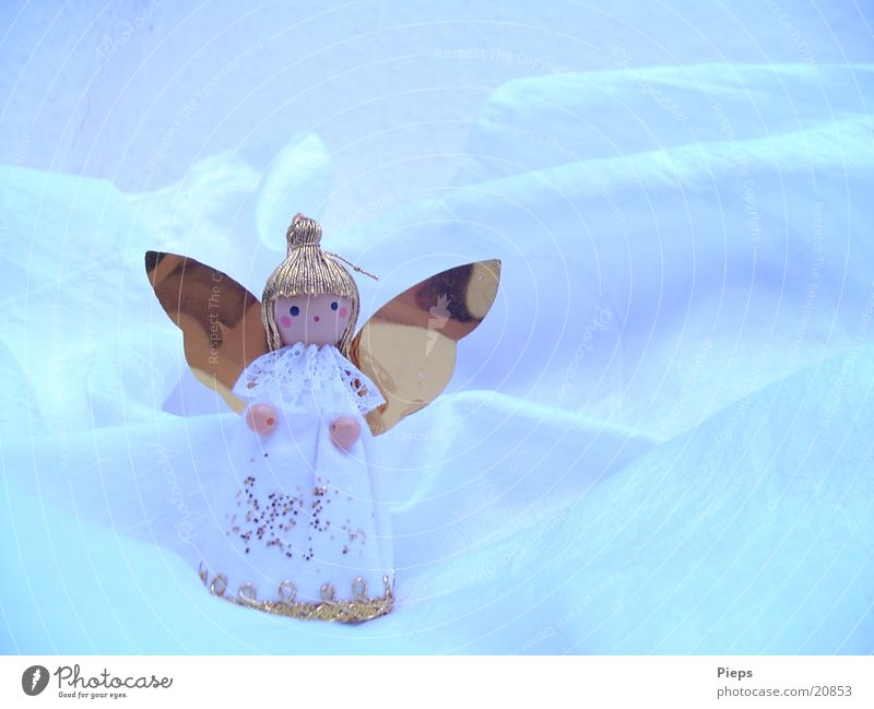 Little white angel (1) Colour photo Interior shot Copy Space right Winter Decoration Doll Kitsch Odds and ends Angel Glittering Gold Public Holiday Hang up