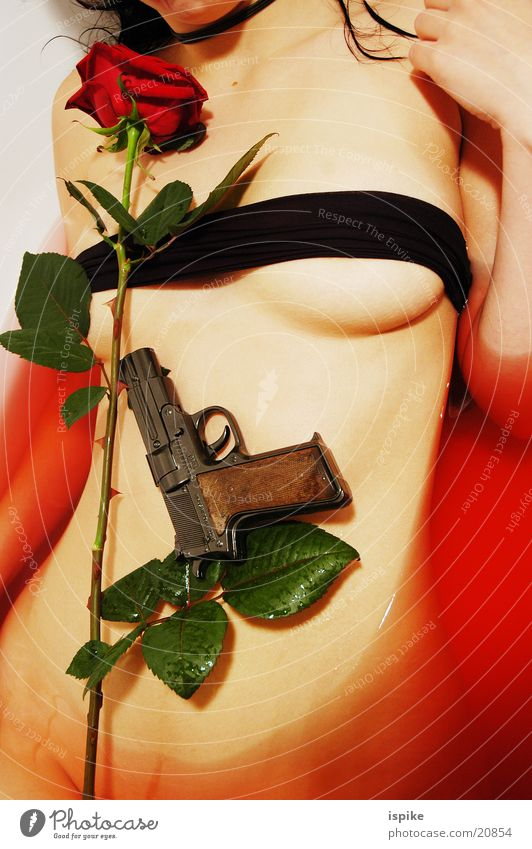 Red Rose Bathroom Handgun Flower Torso Weapon Firearm