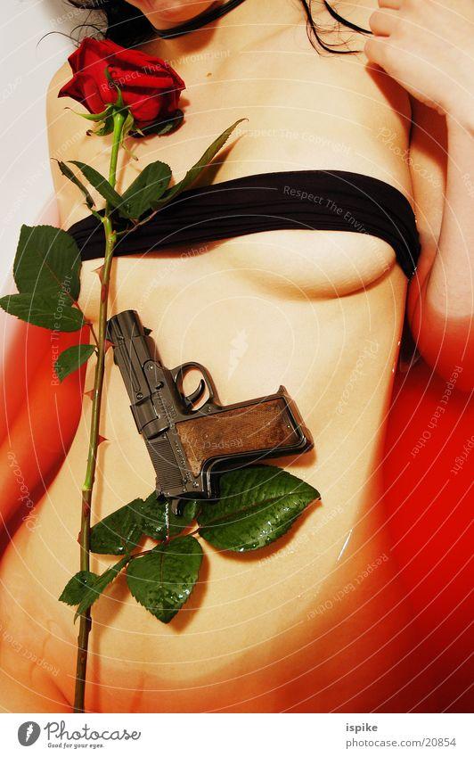 Red Rose Bathroom Handgun Flower Torso Weapon Firearm