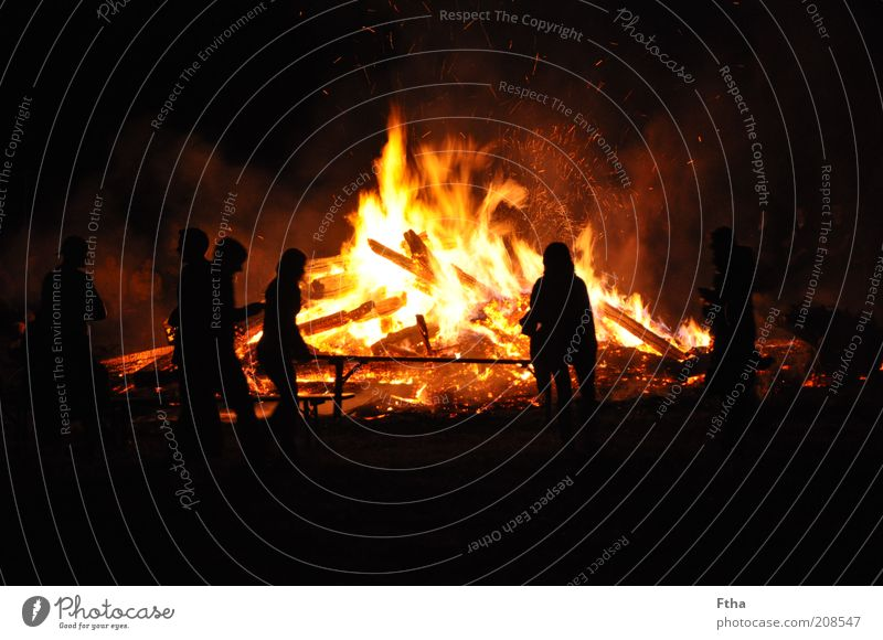 Red Summer Black Yellow Wood Fire Hot Moon Fireplace Embers Night Summer solstice Funeral pyre