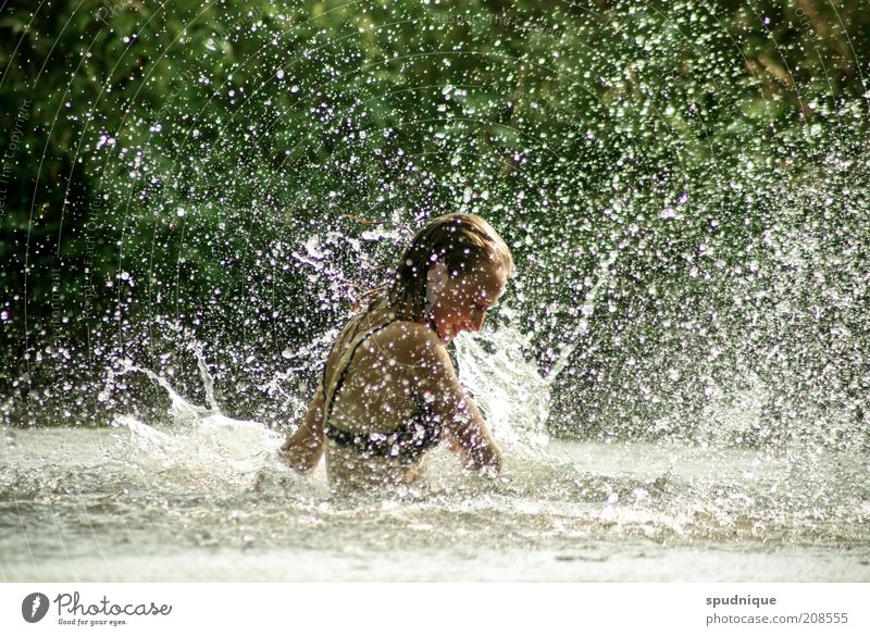 Make rain II Swimming & Bathing Summer Human being Feminine Young woman Youth (Young adults) 1 18 - 30 years Adults Water Beautiful weather River Glittering