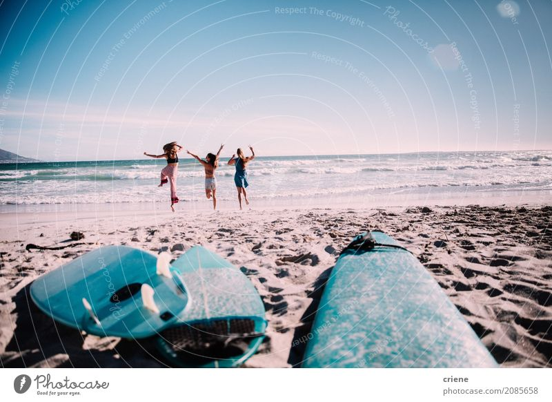 Happy group of friends cheerful at the beach Lifestyle Joy Vacation & Travel Trip Adventure Freedom Summer Summer vacation Sun Beach Ocean Sports Human being