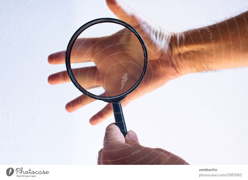 Hand Perspective Fingers Observe Science & Research Section of image Thumb Magnifying glass Truth Forefinger Palm of the hand Middle finger Fingerprint Enlarged