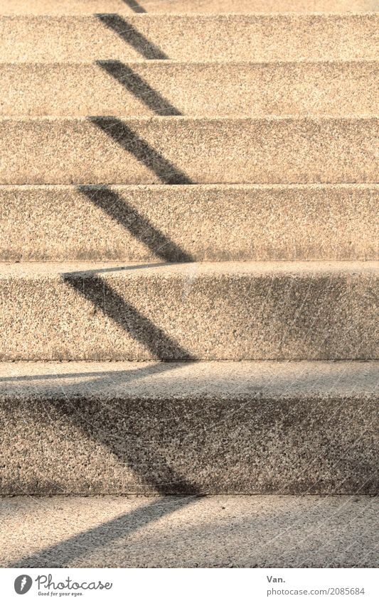 ascent Chemnitz Town Stairs Handrail Stone Gray Zigzag Colour photo Subdued colour Exterior shot Detail Deserted Shadow