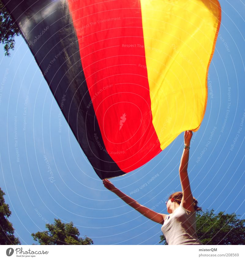 Show your colours. Feminine Esthetic Germany German Flag Black Red Gold World Cup World Cup 2010 Pride Blow Summer morning Woman Symbols and metaphors