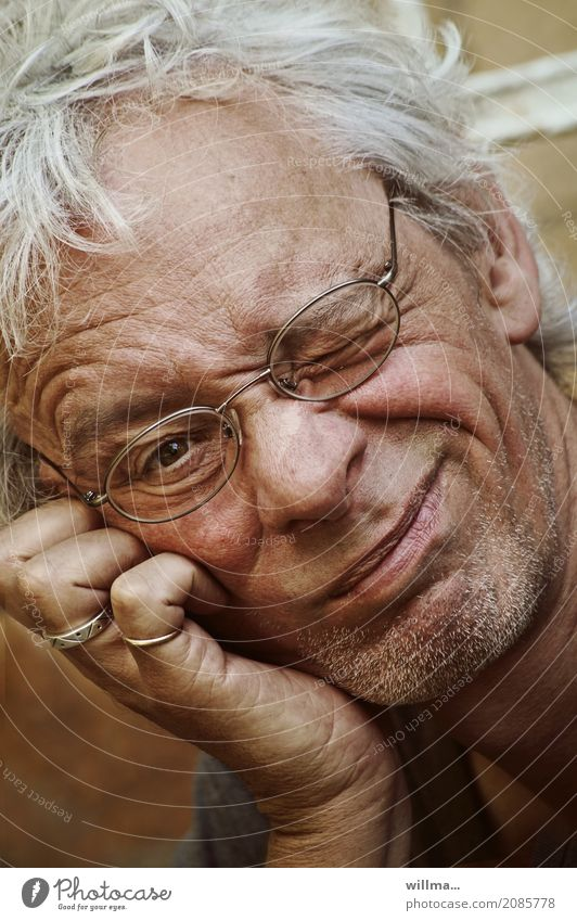 Man Adults Funny Think Masculine Eyeglasses Ring Attractive Impish Designer stubble Congenial White-haired