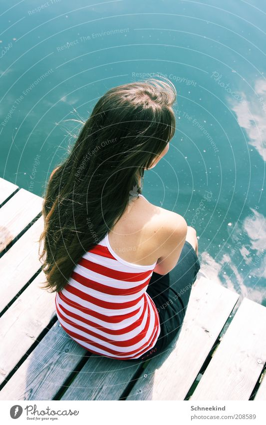 Woman Human being Youth (Young adults) Beautiful Vacation & Travel Summer Calm Adults Relaxation Feminine Life Wood Hair and hairstyles Dream Lake