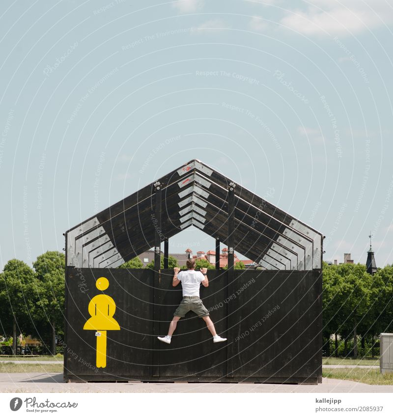 Human being Woman Life Feminine Masculine Body Characters Signs and labeling Signage Roof Mysterious To hold on Bathroom Hut Toilet
