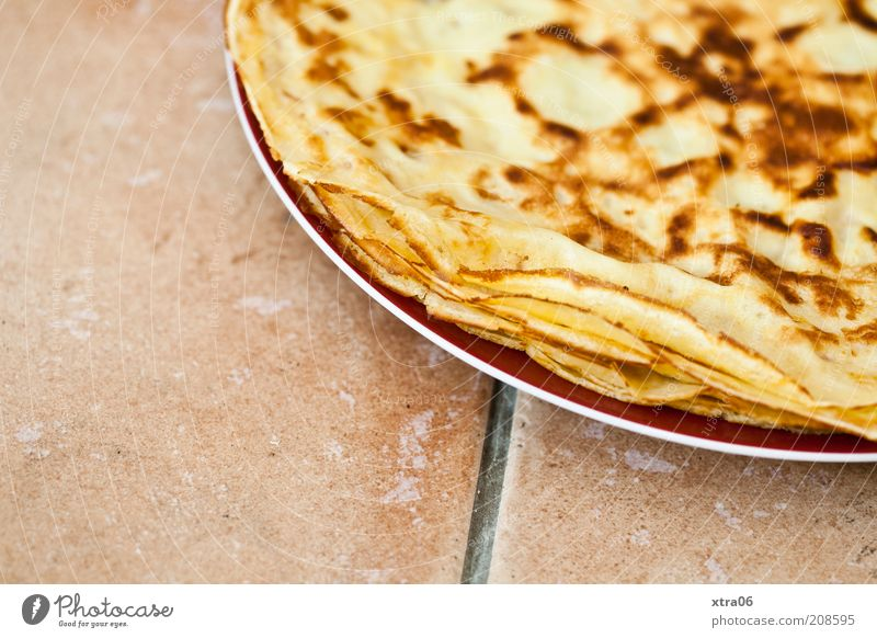 breakfast for all Nutrition Finger food Plate Delicious Pancake Crêpe Dessert Tile Ground Colour photo Interior shot Copy Space left Copy Space bottom Roasted