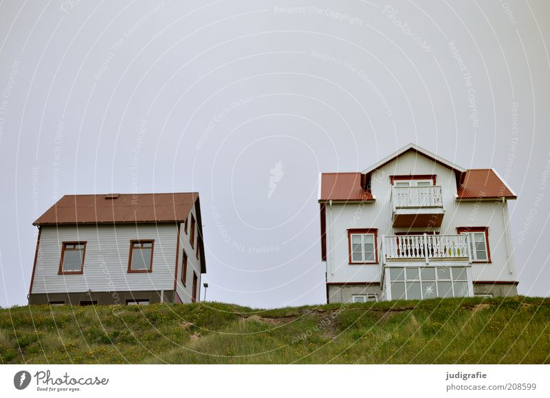 Iceland Living or residing Flat (apartment) House (Residential Structure) Hill Húsavík Deserted Detached house Hut Building Balcony Uniqueness Above Gloomy
