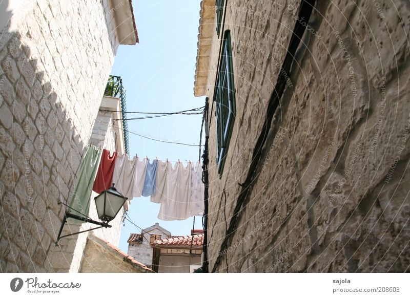 laundry between the houses Vacation & Travel Tourism City trip Summer Summer vacation Living or residing House (Residential Structure) Trogir Croatia Dalmatia