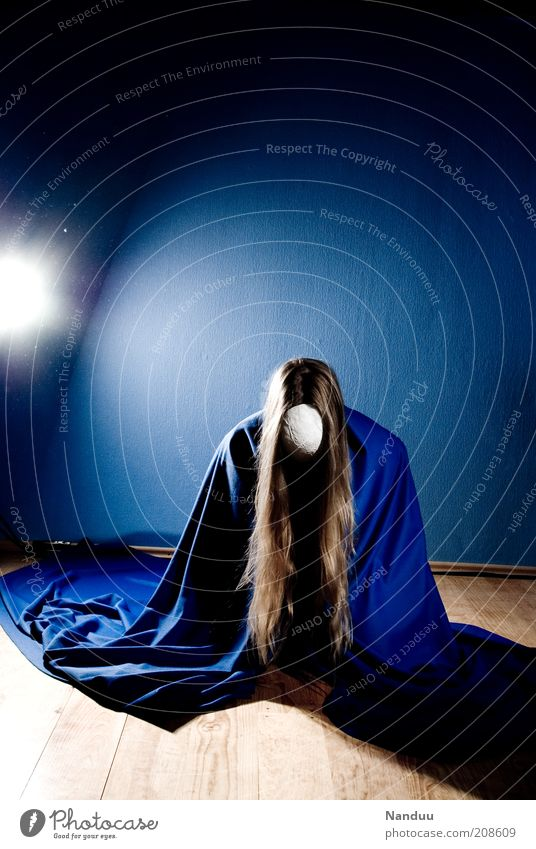 ... Human being Feminine Blonde Long-haired Crouch Kneel Anonymous Mask Cape Meditation Concentrate Repression Duck down Calm Colour photo Interior shot