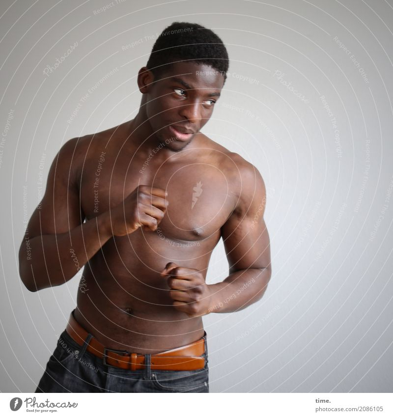 Kekeli Martial arts Sportsperson Boxing Masculine Man Adults 1 Human being Pants Black-haired Short-haired Observe Fight Looking Wait Esthetic Threat Muscular