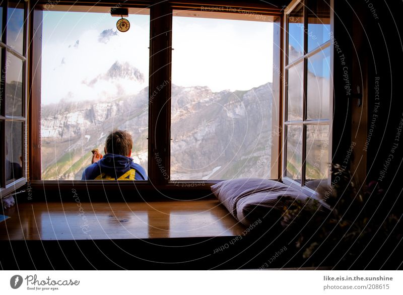 Child Man Youth (Young adults) Joy Clouds Relaxation Mountain Happy Contentment Adults Hiking Masculine Happiness Adventure Switzerland Joie de vivre (Vitality)