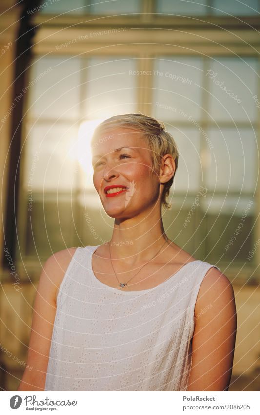 #A# Towards the sun Human being Feminine 1 Esthetic Smiling Laughter Friendliness Woman Dress Sunbeam Summer Glittering Think Window happy Positive