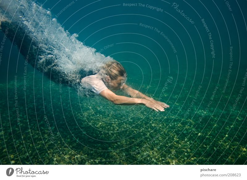 Youth (Young adults) Water Blue Beautiful Joy Adults Movement Lake Blonde Swimming & Bathing Exceptional Esthetic 18 - 30 years Wellness Young woman Dive