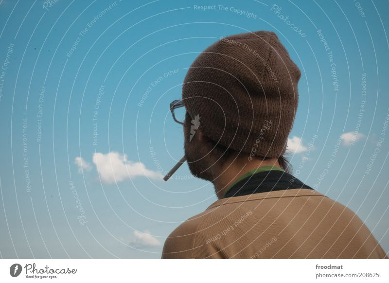 cloud image Smoking Human being Masculine Man Adults Life Back Elements Air Sky Clouds Beautiful weather Eyeglasses Cap Relaxation Dream Cool (slang)